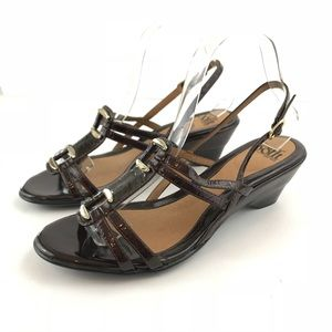 Sofft Brown Sandal Patent Leather Slingback Buckle